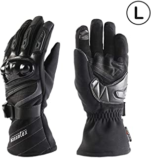 U-smile Motorcycle Gloves,Winter Thermal Gloves for Motorbike Riding Skiing Or Other Outdoor Sports Windproof Waterproof Motorbike Knuckle Guard with Touch Screen Design Unisex,Black
