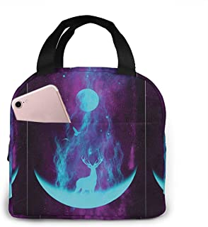SOVJNOFVK Lunch Bags Lunar Deer Printed Insulated Lunch Bag Adult Lunch Box for for Women Men Adults College Work Picnic Hiking Beach Fishing