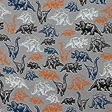 Jersey mit bunten Dinosaurier auf Grau als Meterware zum