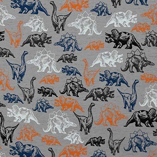 Jersey mit bunten Dinosaurier auf Grau als Meterware zum Nähen von Damen und Kinder und Babykleidung, 50 cm