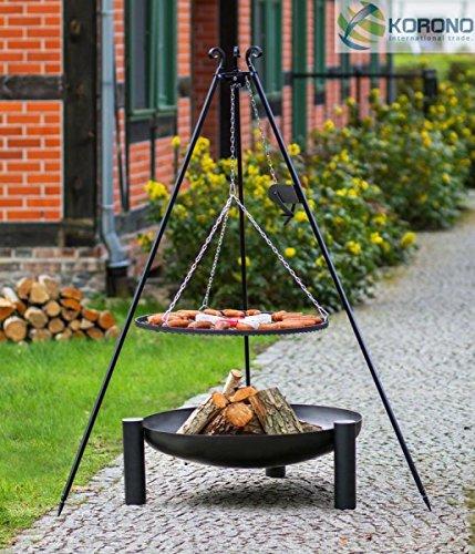 Korono 2 in 1 Schwenk Grill Kettenzug 180 cm Dreibein Rost 70 cm & Feuerschale mit Loch 80 cm