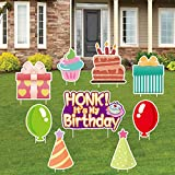 Happy Birthday Yard Signs with Stakes Birthday Cake Cupcake Balloon Gift Box Honk, Lawn Garden Party Outdoor Decorations Stake, Large Waterproof Sign for Colorful Birthday Party Decor Signs Set of 9