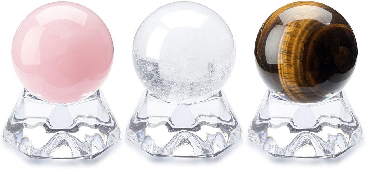 Top Plaza 3 Pcs Rose Quartz Tiger Ball Clear Omaha Mall Gemstone Cheap bargain Eye
