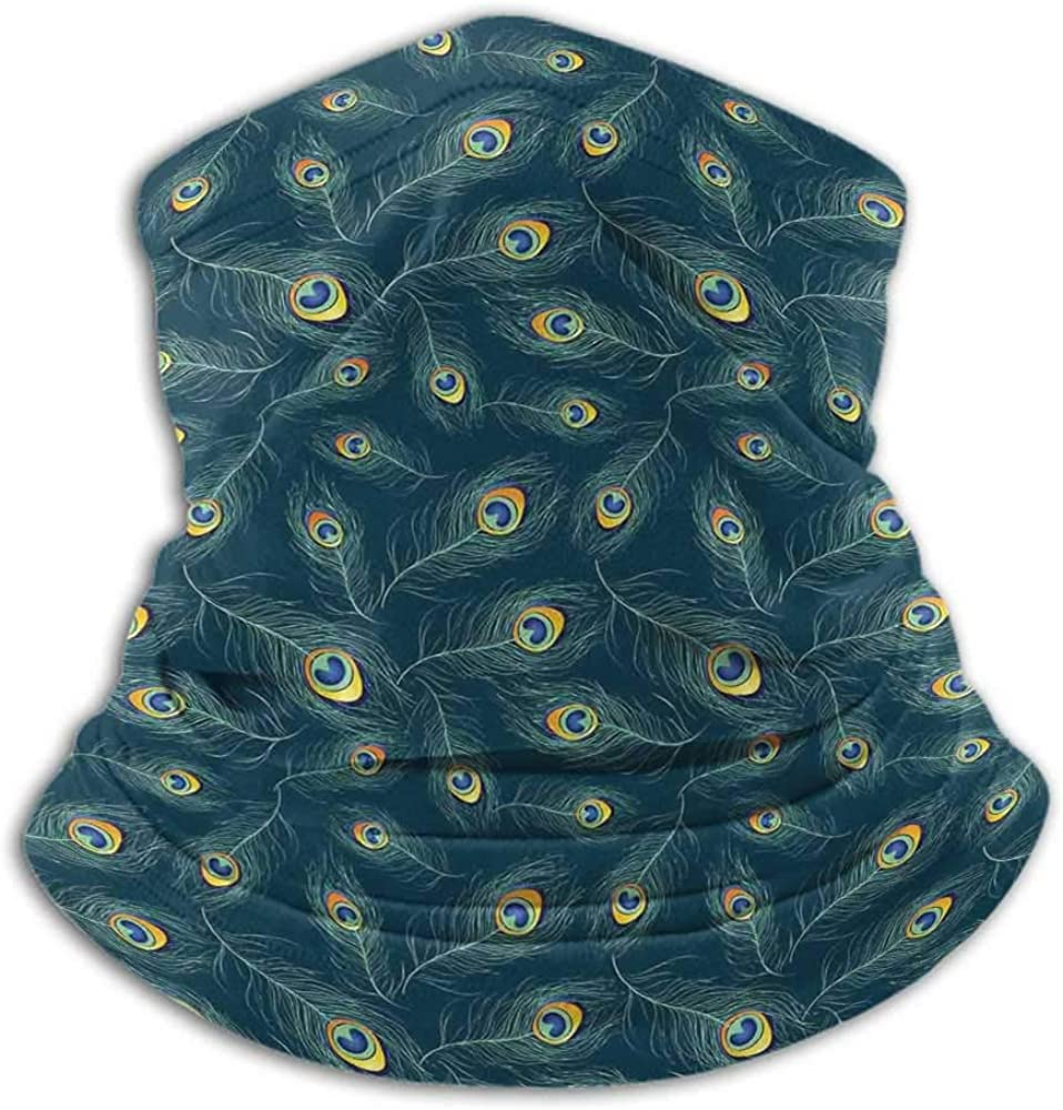 Neck Gaiter Women Feather Headwear Neck Warmer Motorcycle Colorful Middle Eastern Exotic Peacock Feather Motifs on a Dark Toned Background Multicolor