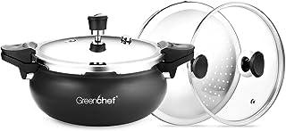 Greenchef Aluminium Presssure Cooker, 3 Ltrs, Black