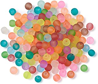 Craftdady 500PCS 4mm Assorted Mixed Round Transparent Frosted Crystal Glass Beads Small Loose Beads for Jewelry Making