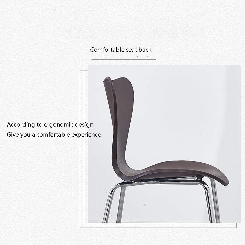 Chaise Minimaliste Moderne Restaurant Mode Créative Accueil Salle À Manger Dossier en Acier Inoxydable (Couleur : Noir) Blanc