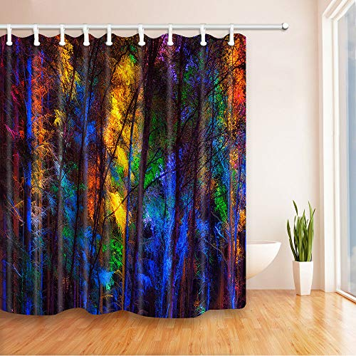 Farbe Zauberwald Duschvorhang Badezimmer Dekor Polyester und 12hooks 71 * 71inches