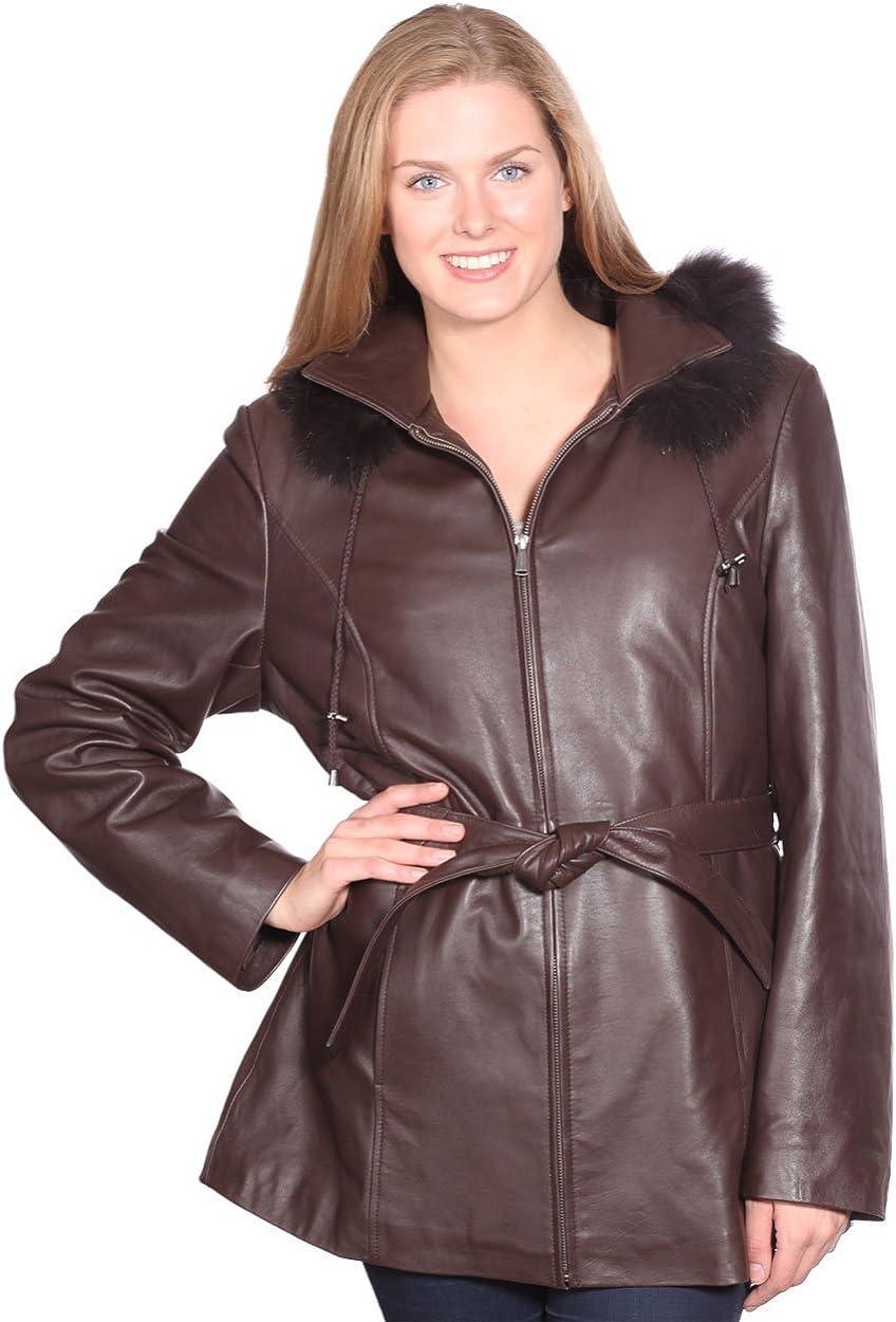 Womens Fall Leather/Fur Sale Ladies 3/4 Lambskin Removable Hood