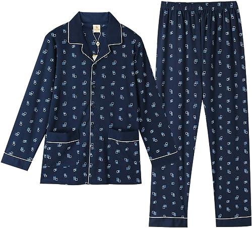 Ensemble de Pyjama pour Homme Ensemble de Pyjama en Coton à Manches Longues Bouton voituredigan hauts Home Service Ensembles Pantalon élastique Taille Pyjama (Couleur   1, Taille   L)