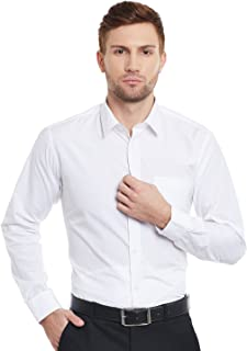 English Navy Slim Fit White Solid Formal Shirt