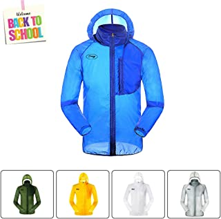 Men's Cycling Lightweight Packable Hood Breathable Rain Jacket,Uv Protection Windbreaker,White Coat for Running Hiking