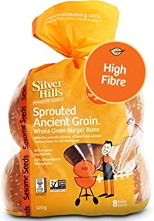 Silver Hills Bakery Sprouted Ancient Grain Whole Grain Hamburger Bun with Sesame Seeds, 18 Ounce -- 8 per case