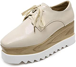 YING LAN Womens Classic Lace-up Wood Platform Casual Square-Toe Oxford Height Increasing