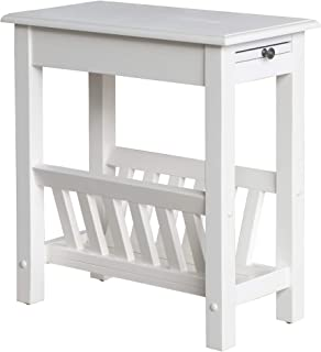 HOMCOM Modern 2-Tier Acacia Wood End Table Side Desk with Cup Holder and Lower Shelf - White