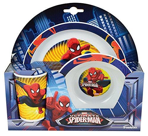 FUN HOUSE 005488 Marvel Spiderman Ensemble Repas Contenant 1 Verre, 1 Assiette et 1 Bol pour Enfant, Polypropylène, Rouge, 26,5 x 8,5 x 24,5 cm