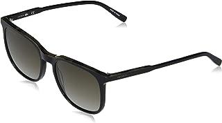 نظارات شمسية مستطيلة للرجال من لاكوست بتصميم لا ستاريبس اند بايبينغ بلون اسود وبني قاتم