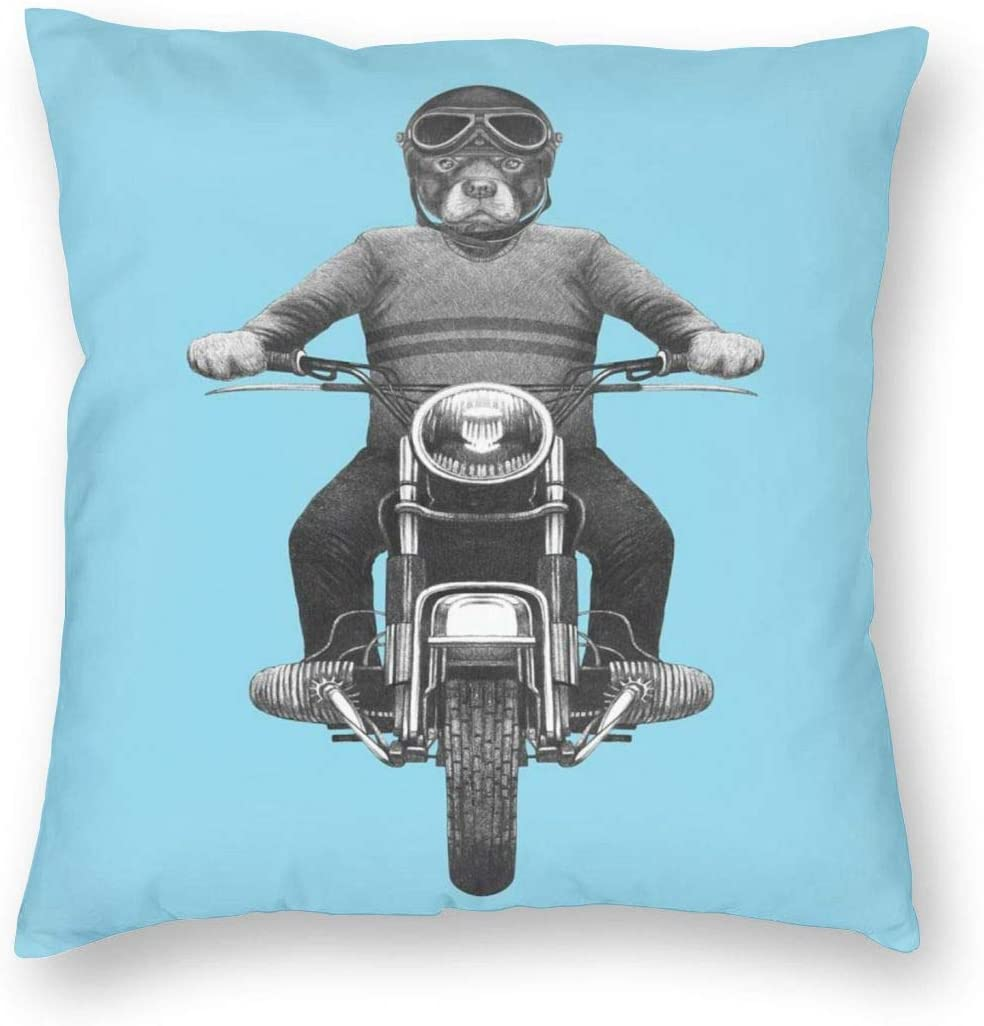 Papalikz Rottweiler Throw Pillow Cushion Cover,Dog Breed Riding Motorcycle Adventurous Scooter Hard Hat,Decorative Square Accent Pillow Case 20
