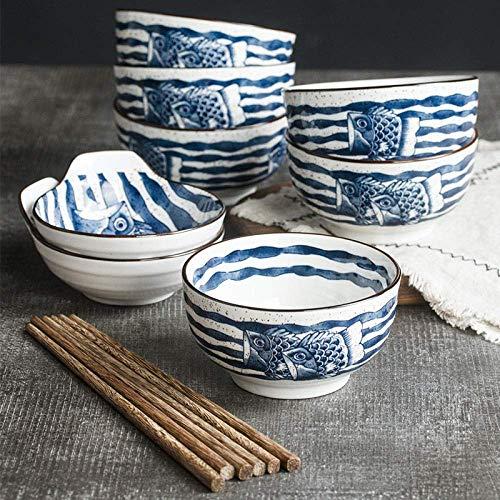 Vajilla de cerámica Plato Llano Azul, Servicio de Cocina Nuevo (patrón Crema y Rojo), Juego de vajilla Pintada a Mano, Juego de vajilla de 6 Piezas: d