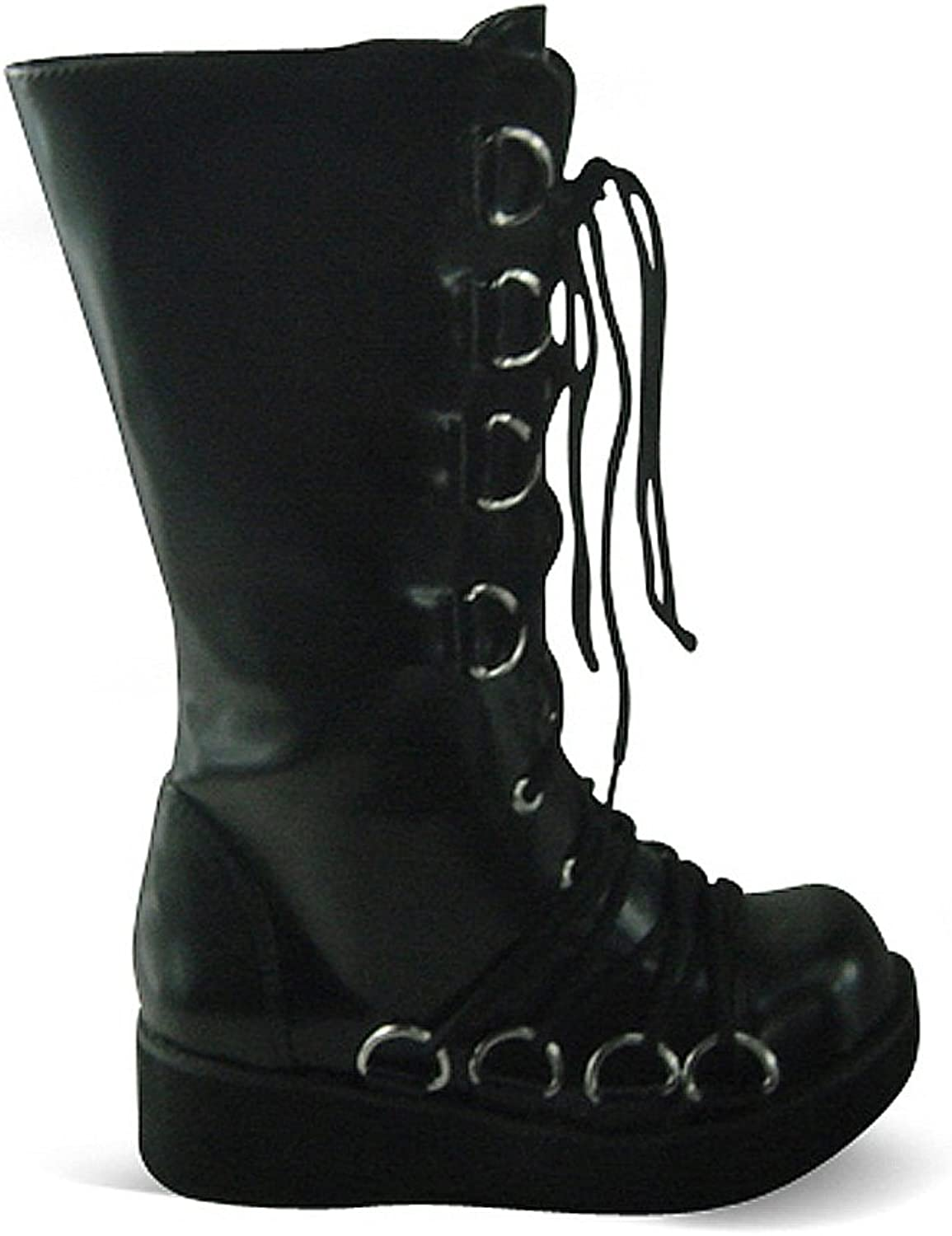 Antaina Low Heel Black PU Metal Buckle Punk Chunky Lolita Platform Boots