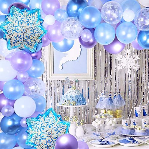 Kit arco di ghirlanda di palloncini a fiocco di neve Confezione da 116 palloncini a fiocco di neve per la festa di compleanno del 1 °, 2 ° e 3 ° compleanno della principessa di ghiaccio baby shower