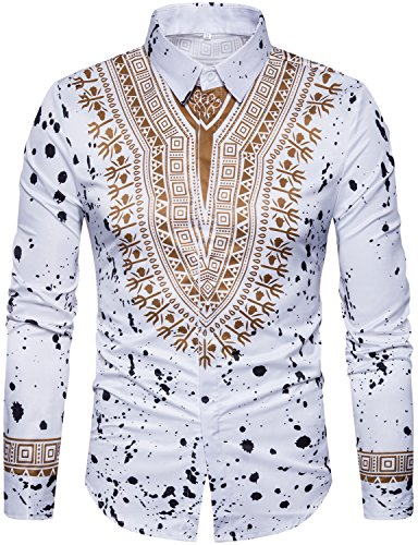 WHATLEES Mens Hipster African Tribal Dashiki Long Sleeve Slim Fit Casual Button Down Dress Shirts Tops T4419-White-XX-Large