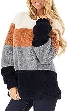Sweatshirt Fuzzy Fleece Tops Women's Casual Long Sleeve Color Block Pullover