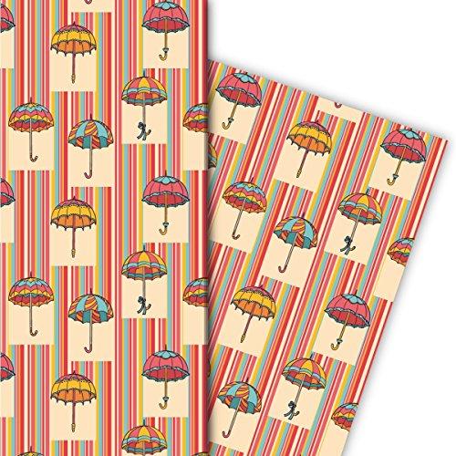 Kartenkaufrausch Lustiges Regen Streifen Geschenkpapier Set 4 Bogen, Dekorpapier, Musterpapier mit fliegenden Regenschirmen, gelb, für tolle Geschenkverpackung, Designpapier 32 x 48cm