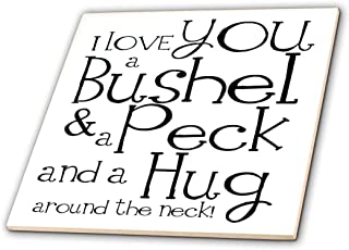 3dRose ct_193477_4 I Love You a Bushel and a Peck. White and Black. Ceramic Tile, 12-Inch