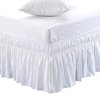 Black Friday & Cyber Monday Deals ! Ruffled Wrap Around Bed Skirt-24 Inches Drop Easy Fit Full Size White Solid (Available for All Bed Sizes and Colors)