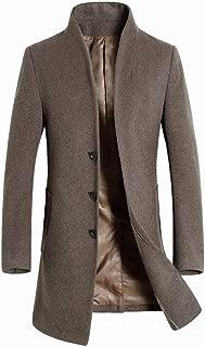 FTIMILD Men's Wool Trench Coat Slim Fit Single Breasted Overcoat Business Down Jacket Winter Topcoat