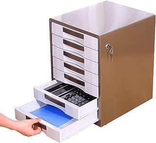 Armoires de Bureau en métal 7 Couches de Bureau avec verrou A4 File Box Desktop (Couleur : Brown)