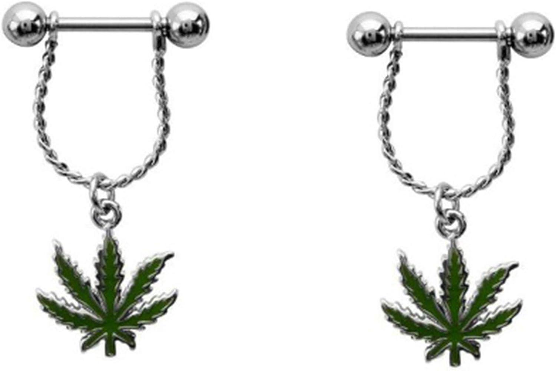 Nipple Ring Bars 14g Forward Facing Pot Leaf Nipple Barbell Marijuana