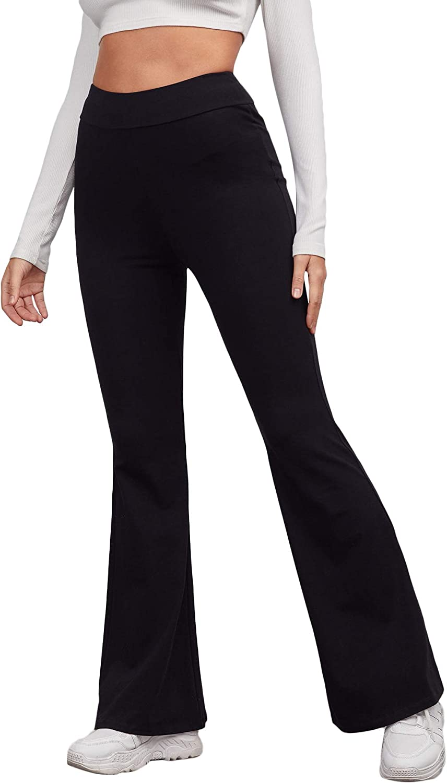 DIDK Women's High Elastic Waist Long Pants Flared Wide Leg Solid Trousers