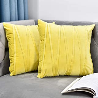 NianEr Velvet Square Throw Pillow Covers Set of 2 Soft Solid Fall Winter Decorative Couch Cushion Pillow Cases 18X18 Yellow