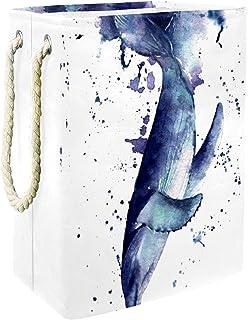 EZIOLY Panier à linge pliable en forme de poisson avec poignées, supports amovibles, bonne tenue, étanche pour vêtements, ...