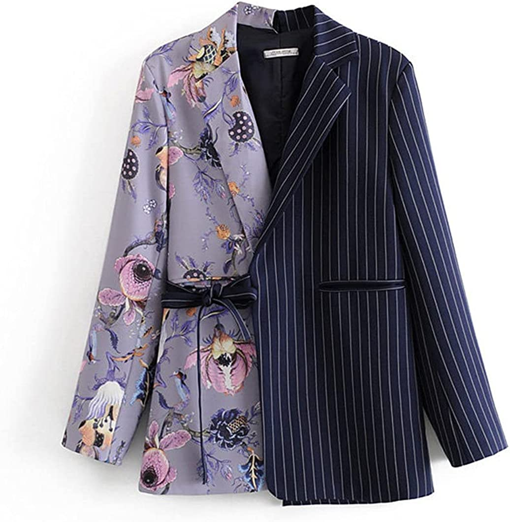 Women Patchwork Printed Striped Blazer Loose Long F Sleeve New Quantity limited Free Shipping Lapel