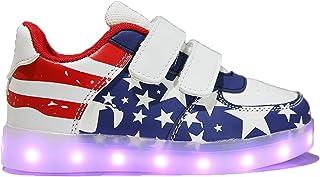 Mapleaf Chaussures Lumiere Lumineuse Fille Garcon Basket Enfant Homme Femme LED Blanche Noir Bebe Taille 24 45 Running Ska...