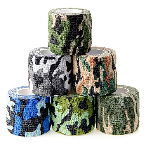 MUEUSS Vet Wrap Pet First Aid Tape Waterproof Self Adherent Cohesive Bandage for Dogs Cats Horses Breathable Non-Woven Elastic Sport Camo Tape for Arm Knee Ankle Sprain (6 Rolls, 2' x 5 Yards)