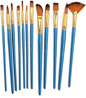 JUNNuotop 12Pcs Nylon Brush Set TYP306 for Oil Painting Tools Strong Adhesion for Artists Students All Brush Set- Acrylic,...