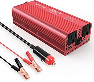 EBTOOLS Car Power Inverter, 1000W/2000W Inverter 12V DC to 110V AC Car Converter with 2 AC Outlets and 2.1A USB port for Laptop, Smartphone, Household Appliances in case Emergency Storm and Outage