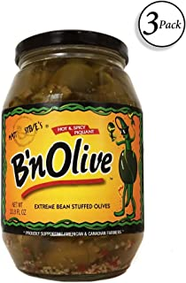B'nOlive - Hot & Spicy Extreme Bean Stuffed Olives, 33 oz (3 pack)