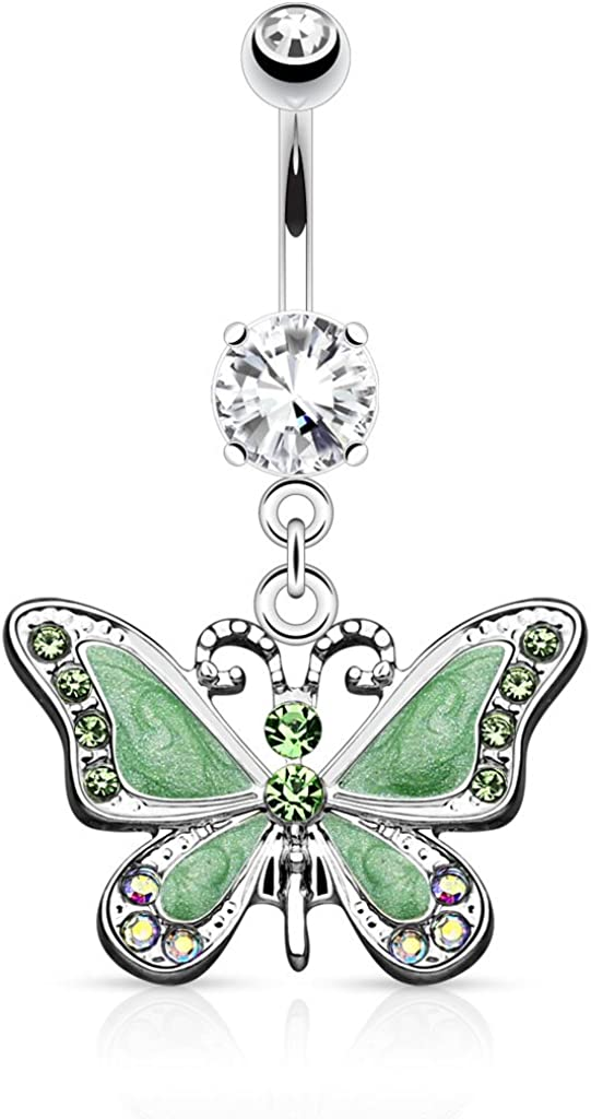 Pierced Owl 14GA Stainless Steel CZ Crystal Butterfly Dangling Belly Button Ring