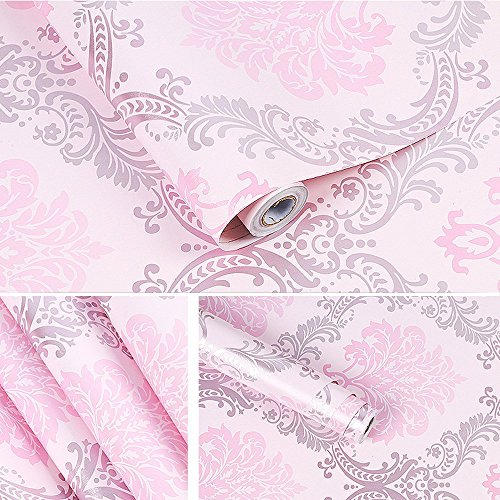 Yifely Vintage Pink Damask Self-Adhesive Shelf Drawer Liner Moisture Proof PVC Mat 45x300cm