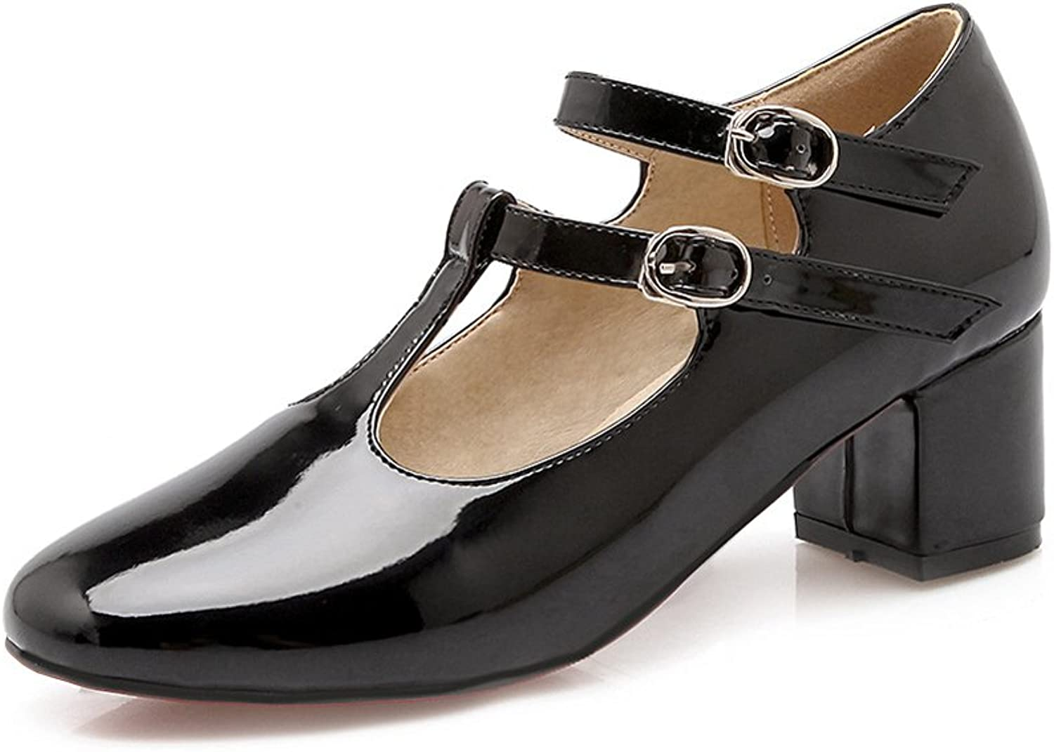 Lucksender Womens Round Toe Chunky Heel Ankle Strap Mary Jane Pumps shoes