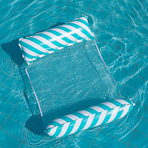 DazSpirit Hamaca de Agua Flotante Inflable Cama Flotante Multiusos Hamaca de natación 4 en 1 (Silla de Montar, sillón, vagabundo, Hamaca), Boquilla antifugas, tapete de Playa y Piscina (Azul Rayas)