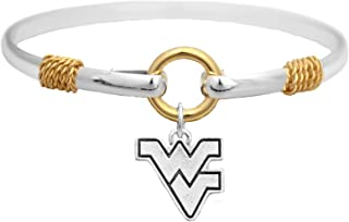 Sports Accessory Store West Virginia Mountaineers Two Tone Silver Gold Cuff Bracelet Charm Jewelry WVU