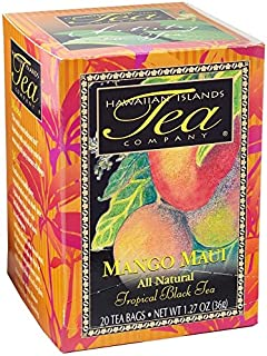 Mango Maui Tropical Black Tea, All Natural, 20 Teabags, Blended and Packed in Hawaii