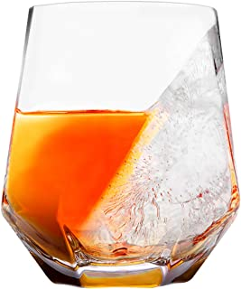 Boravis Whiskey Glass with Half Ice Half Wine Design, Set of 1, Perfect for Whiskey Lovers