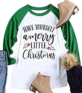 EGELEXY Plus Size Have Yourself a Merry Little Christmas T Shirt Womens 3/4 Sleeve Baseball Tops Letters Print Casual Tees